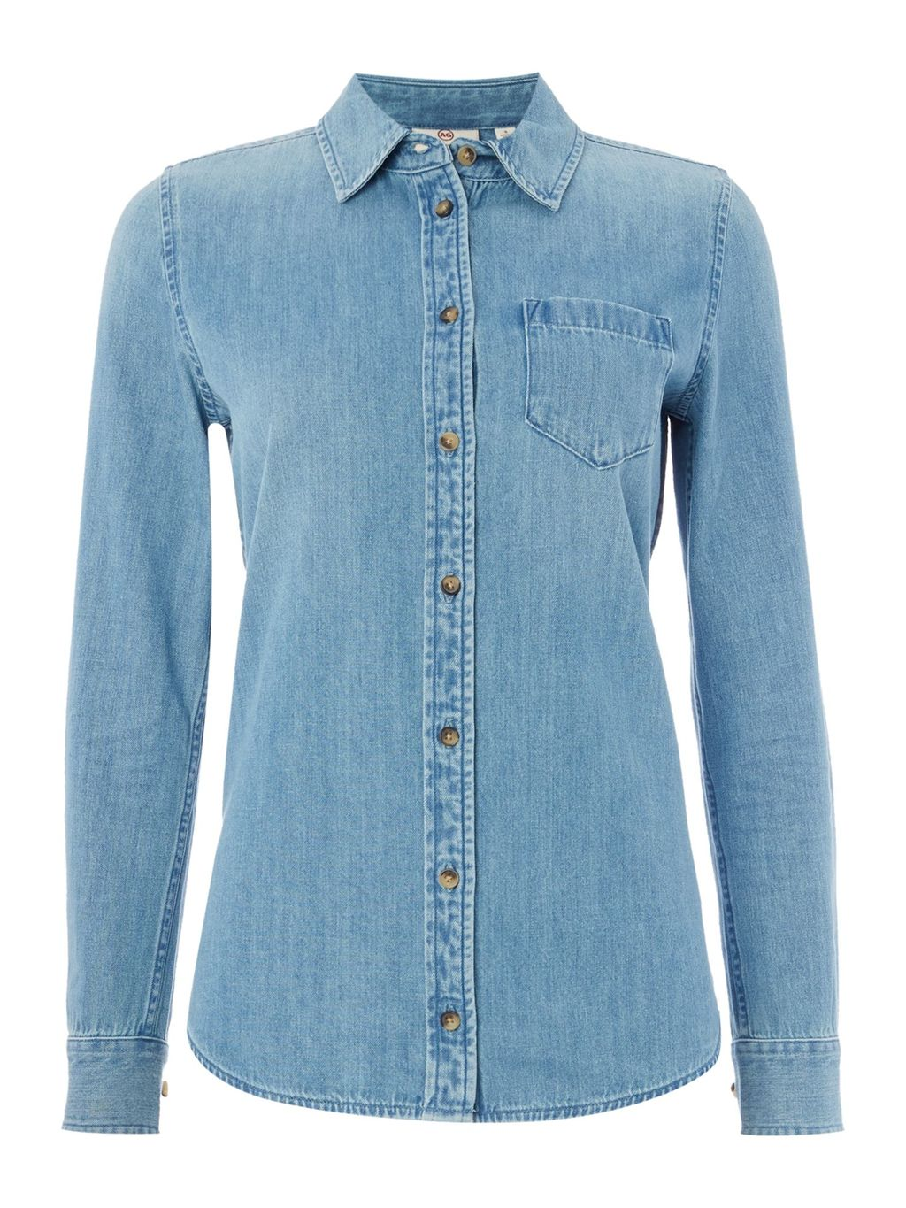 The Easton Denim Shirt In Blue Light, Light Blue - neckline: shirt collar/peter pan/zip with opening; pattern: plain; style: shirt; bust detail: pocket detail at bust; predominant colour: denim; occasions: casual, creative work; length: standard; fibres: cotton - 100%; fit: body skimming; sleeve length: long sleeve; sleeve style: standard; texture group: denim; pattern type: fabric; season: s/s 2016
