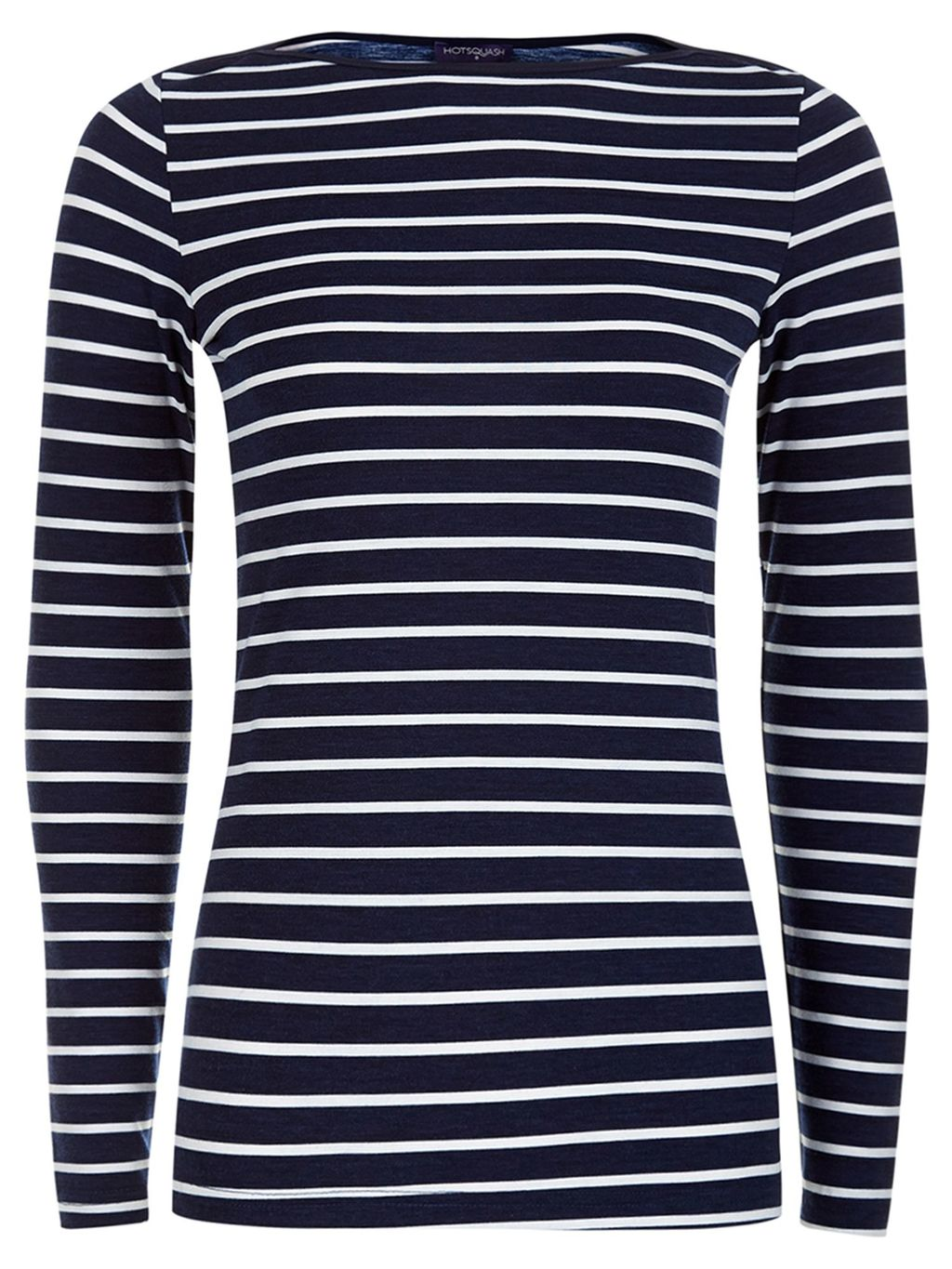 Close Fitting Boat Neck Top, Navy & White - neckline: round neck; pattern: horizontal stripes; secondary colour: white; predominant colour: navy; occasions: casual, creative work; length: standard; style: top; fibres: polyester/polyamide - mix; fit: body skimming; sleeve length: long sleeve; sleeve style: standard; pattern type: knitted - fine stitch; texture group: jersey - stretchy/drapey; pattern size: big & busy (top); season: s/s 2016; wardrobe: basic