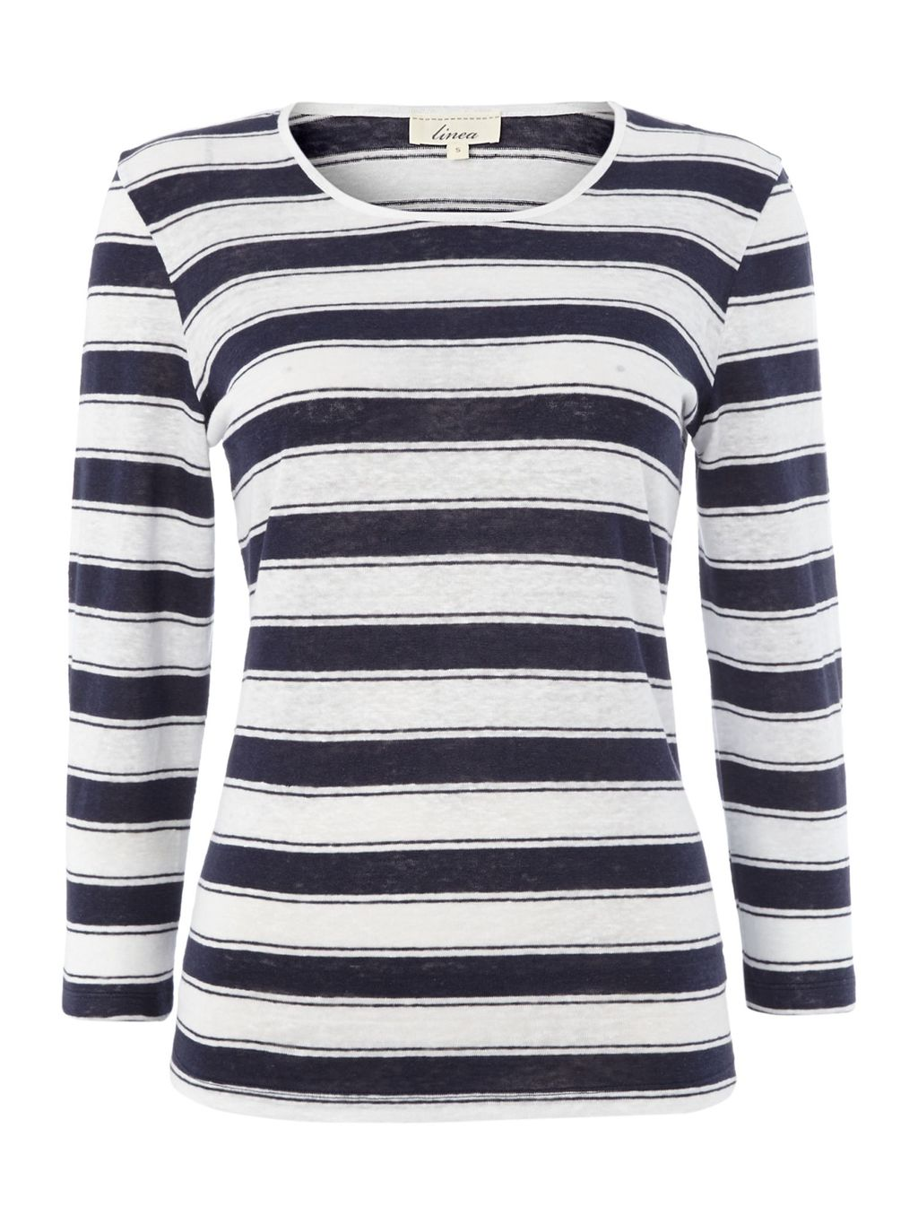 Stripe Jersey Top In 100% Linen, Navy - pattern: horizontal stripes; style: t-shirt; predominant colour: white; secondary colour: navy; occasions: casual; length: standard; fibres: linen - 100%; fit: body skimming; neckline: crew; sleeve length: long sleeve; sleeve style: standard; texture group: jersey - clingy; pattern type: fabric; pattern size: standard; season: s/s 2016