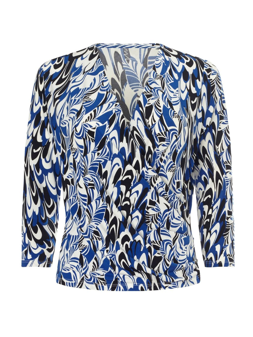 Jeff Banks Scribble Print Top, Multi Coloured - neckline: v-neck; secondary colour: royal blue; predominant colour: black; occasions: casual, creative work; length: standard; style: top; fibres: polyester/polyamide - stretch; fit: body skimming; sleeve length: 3/4 length; sleeve style: standard; pattern type: fabric; pattern: patterned/print; texture group: jersey - stretchy/drapey; pattern size: big & busy (top); multicoloured: multicoloured; season: s/s 2016; wardrobe: highlight