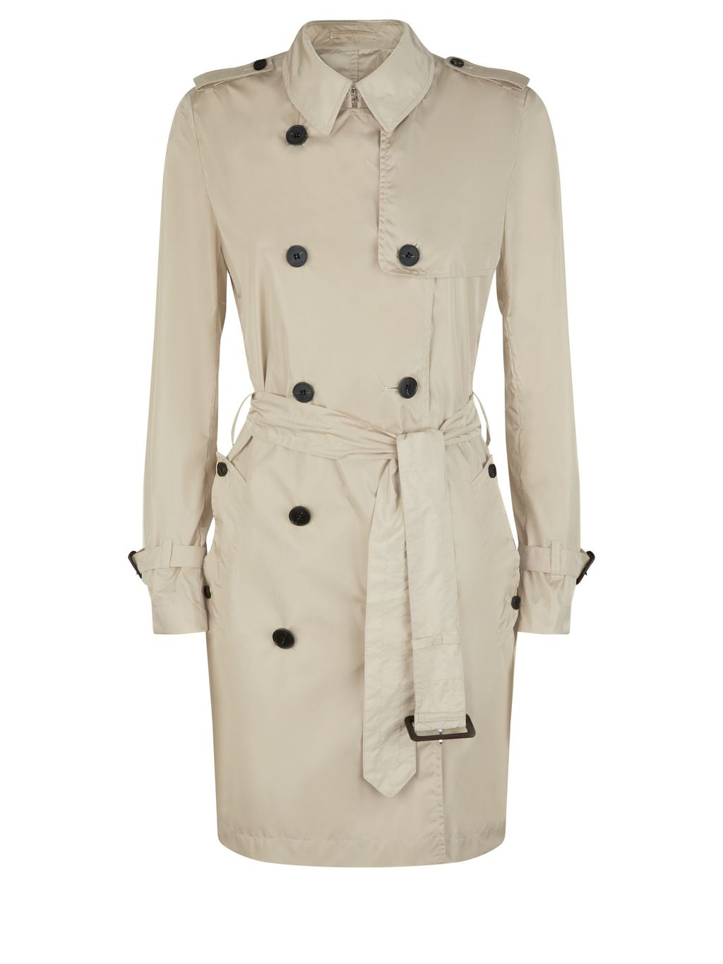 Voyager Mac, Beige - pattern: plain; style: trench coat; length: on the knee; predominant colour: stone; occasions: casual, work; fit: tailored/fitted; fibres: cotton - 100%; collar: shirt collar/peter pan/zip with opening; waist detail: belted waist/tie at waist/drawstring; shoulder detail: subtle shoulder detail; sleeve length: long sleeve; sleeve style: standard; texture group: cotton feel fabrics; collar break: high/illusion of break when open; pattern type: fabric; season: s/s 2016; wardrobe: basic