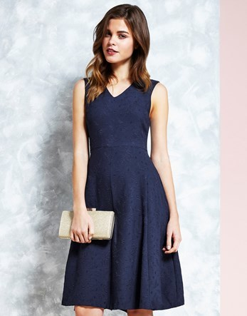 Jacquard Midi Dress - neckline: v-neck; pattern: plain; sleeve style: sleeveless; predominant colour: navy; occasions: evening; length: on the knee; fit: fitted at waist & bust; style: fit & flare; fibres: polyester/polyamide - stretch; sleeve length: sleeveless; pattern type: fabric; texture group: brocade/jacquard; season: s/s 2016; wardrobe: event