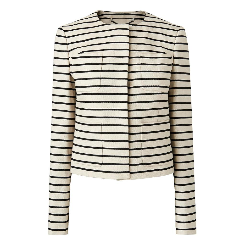 Gia Striped Print Jacket Multi Black - pattern: horizontal stripes; collar: round collar/collarless; style: boxy; secondary colour: ivory/cream; predominant colour: black; length: standard; fit: straight cut (boxy); fibres: cotton - mix; occasions: occasion, creative work; sleeve length: long sleeve; sleeve style: standard; collar break: high; pattern type: fabric; pattern size: standard; texture group: woven light midweight; season: s/s 2016; wardrobe: investment