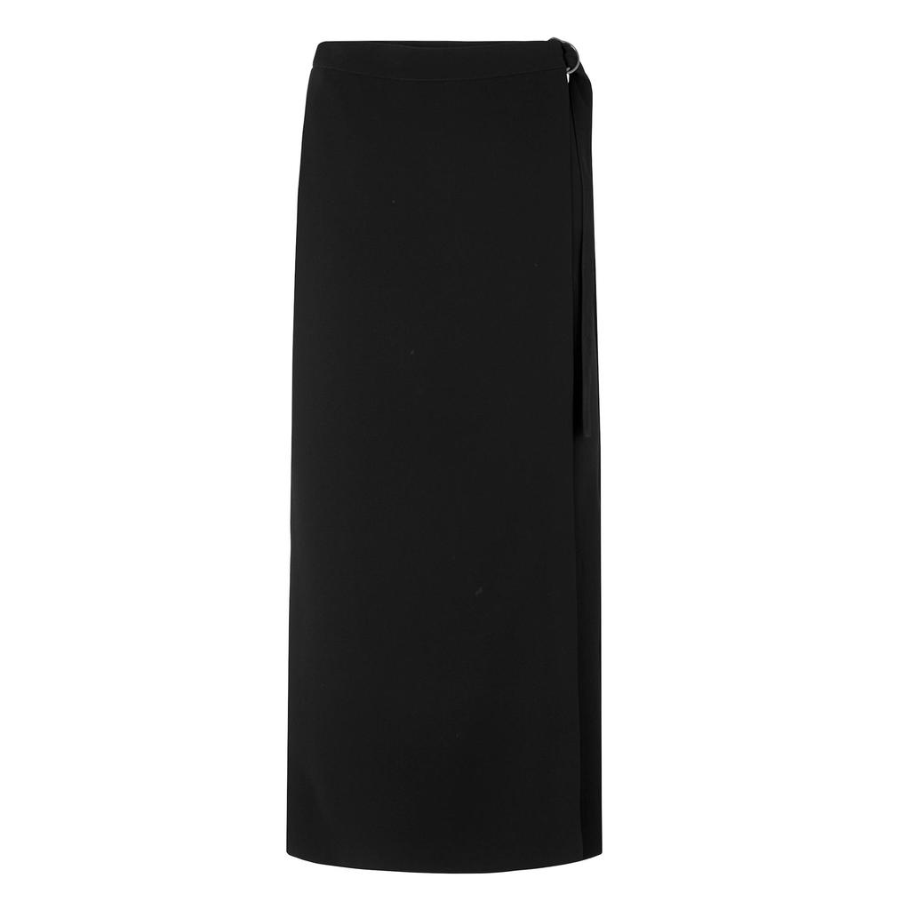 Malo Black Wrap Skirt - pattern: plain; style: wrap/faux wrap; length: ankle length; fit: body skimming; waist: mid/regular rise; predominant colour: black; fibres: polyester/polyamide - 100%; pattern type: fabric; texture group: other - light to midweight; occasions: creative work; season: s/s 2016; wardrobe: basic