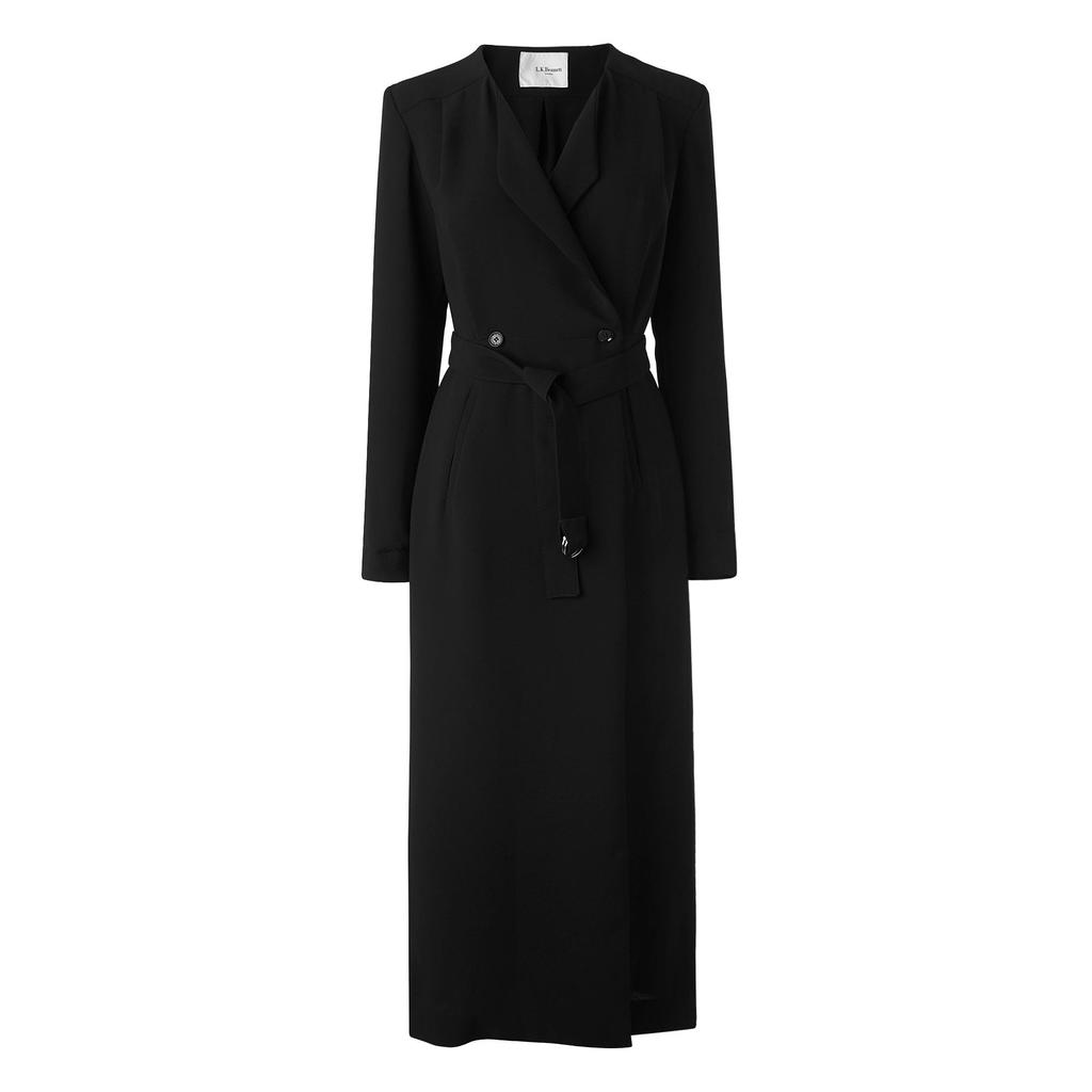 Malo Black Long Wrap Dress Black - style: faux wrap/wrap; neckline: v-neck; fit: tailored/fitted; pattern: plain; predominant colour: black; occasions: evening, work; length: just above the knee; fibres: polyester/polyamide - 100%; sleeve length: long sleeve; sleeve style: standard; pattern type: fabric; texture group: other - light to midweight; season: s/s 2016; wardrobe: investment