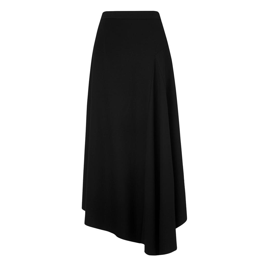 Cherie Black Midi Skirt - length: below the knee; pattern: plain; fit: loose/voluminous; waist: high rise; predominant colour: black; occasions: casual, creative work; style: asymmetric (hem); fibres: viscose/rayon - stretch; pattern type: fabric; texture group: woven light midweight; season: s/s 2016; wardrobe: basic