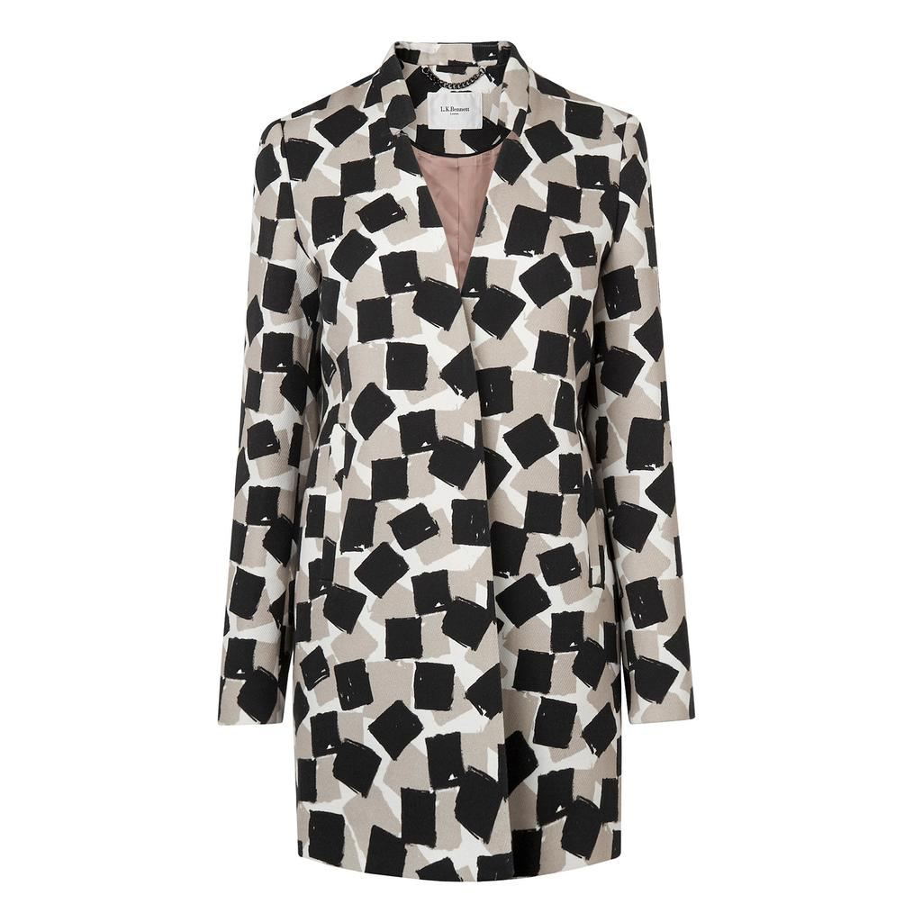 Brianne Printed Black Coat - style: single breasted; collar: standard lapel/rever collar; length: mid thigh; predominant colour: black; secondary colour: black; fit: tailored/fitted; fibres: polyester/polyamide - mix; occasions: occasion; sleeve length: long sleeve; sleeve style: standard; collar break: medium; pattern type: fabric; pattern size: standard; pattern: patterned/print; texture group: woven bulky/heavy; season: s/s 2016; wardrobe: event