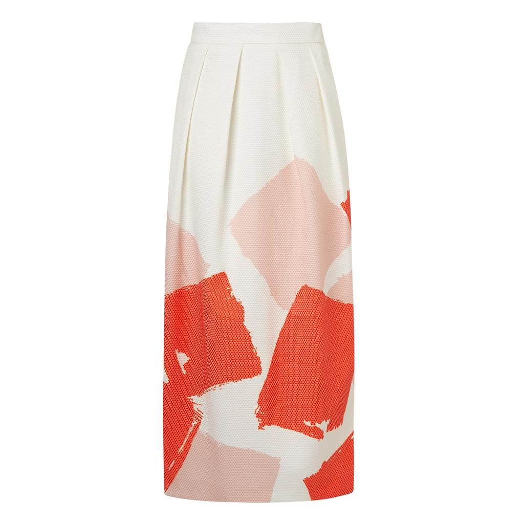 Nadine Straight Midi Skirt - style: straight; length: ankle length; fit: tailored/fitted; waist: high rise; secondary colour: white; predominant colour: bright orange; occasions: evening; fibres: cotton - stretch; hip detail: subtle/flattering hip detail; texture group: crepes; pattern type: fabric; pattern: patterned/print; pattern size: light/subtle (bottom); season: s/s 2016; trends: vivid mix; wardrobe: event