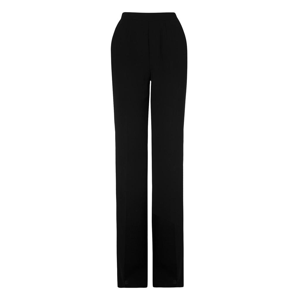 Malo High Waisted Flared Trousers Black - length: standard; pattern: plain; waist: high rise; predominant colour: black; occasions: evening, creative work; fibres: polyester/polyamide - 100%; texture group: crepes; fit: straight leg; pattern type: fabric; style: standard; season: s/s 2016