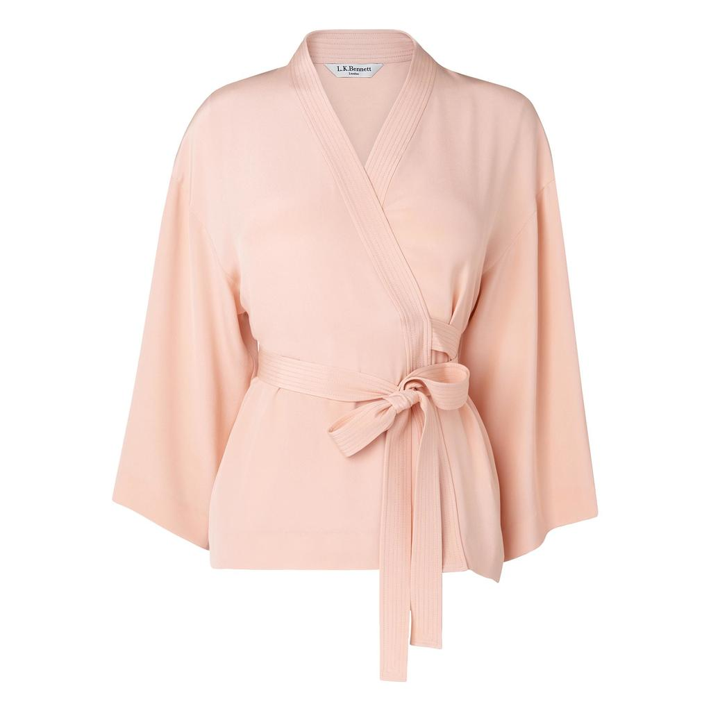 Alisa Pink Wrap Front Top - neckline: v-neck; pattern: plain; style: wrap/faux wrap; waist detail: belted waist/tie at waist/drawstring; predominant colour: nude; occasions: casual; length: standard; fibres: silk - 100%; fit: body skimming; sleeve length: long sleeve; sleeve style: standard; pattern type: fabric; texture group: other - light to midweight; season: s/s 2016; wardrobe: basic