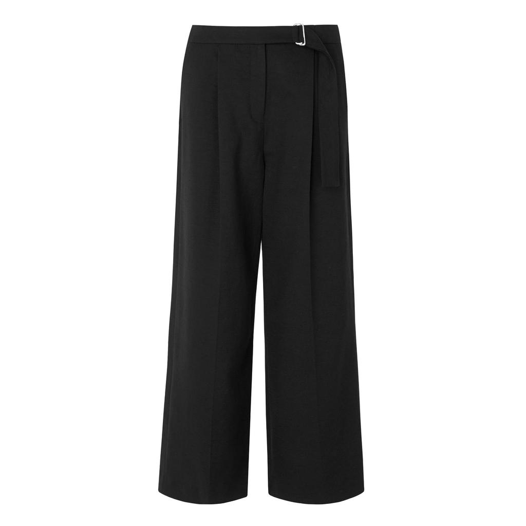 Xia Black Tailored Culottes Black - pattern: plain; waist: high rise; waist detail: belted waist/tie at waist/drawstring; predominant colour: black; length: ankle length; fibres: polyester/polyamide - 100%; texture group: crepes; fit: wide leg; pattern type: fabric; style: standard; occasions: creative work; season: s/s 2016; wardrobe: basic