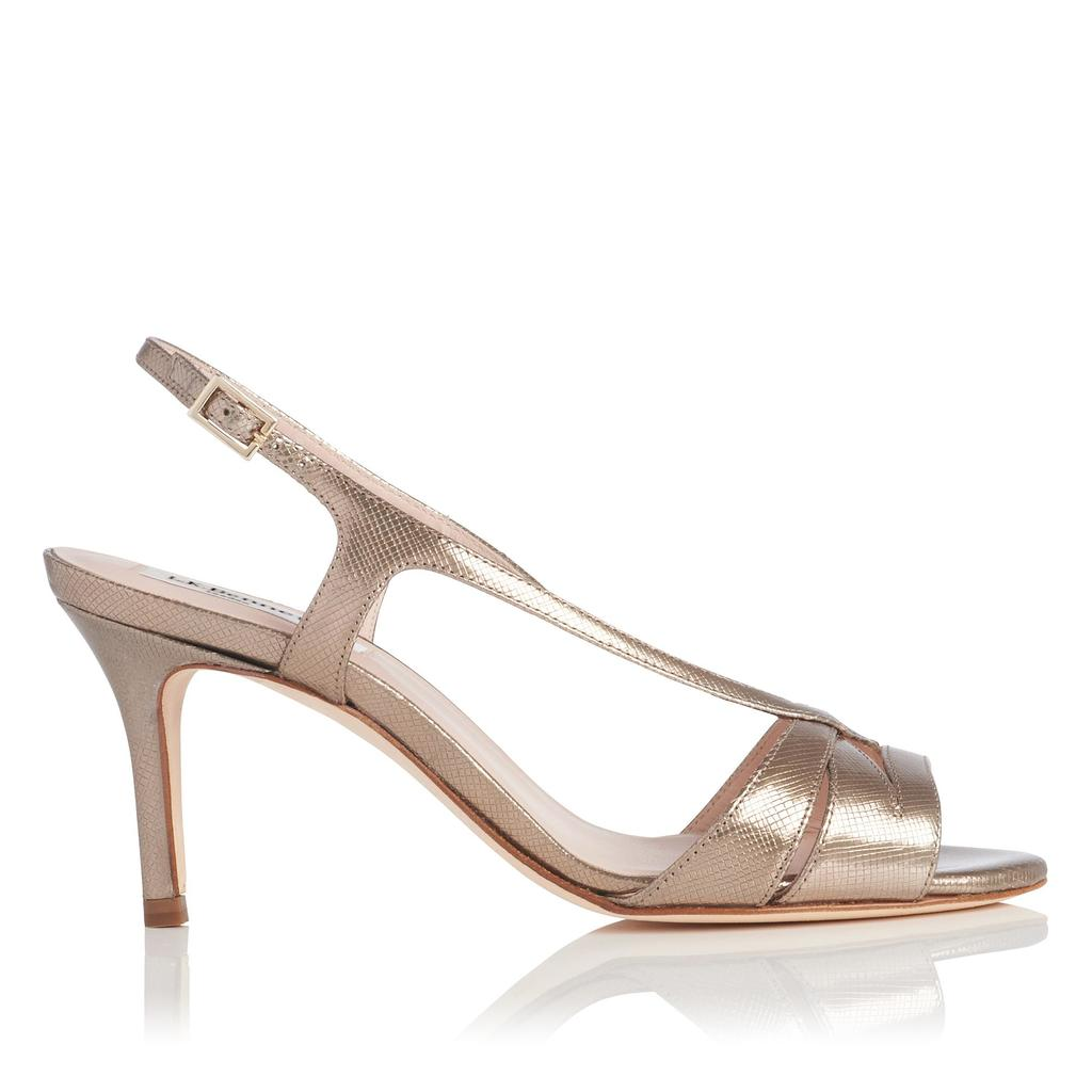 Diana Metallic Gold Sandals Metallic Dusty Gold - predominant colour: champagne; occasions: evening, occasion; material: leather; heel height: high; heel: stiletto; toe: open toe/peeptoe; style: strappy; finish: metallic; pattern: plain; season: s/s 2016; wardrobe: event