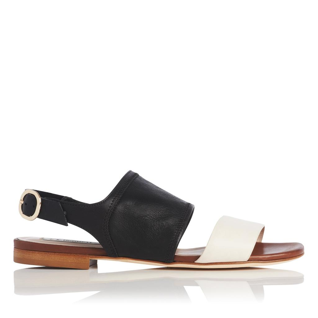 Lizzie Leather Flat Sandals - predominant colour: black; secondary colour: black; occasions: casual, holiday; material: leather; heel height: flat; ankle detail: ankle strap; heel: standard; toe: open toe/peeptoe; style: strappy; finish: plain; pattern: colourblock; season: s/s 2016; wardrobe: highlight