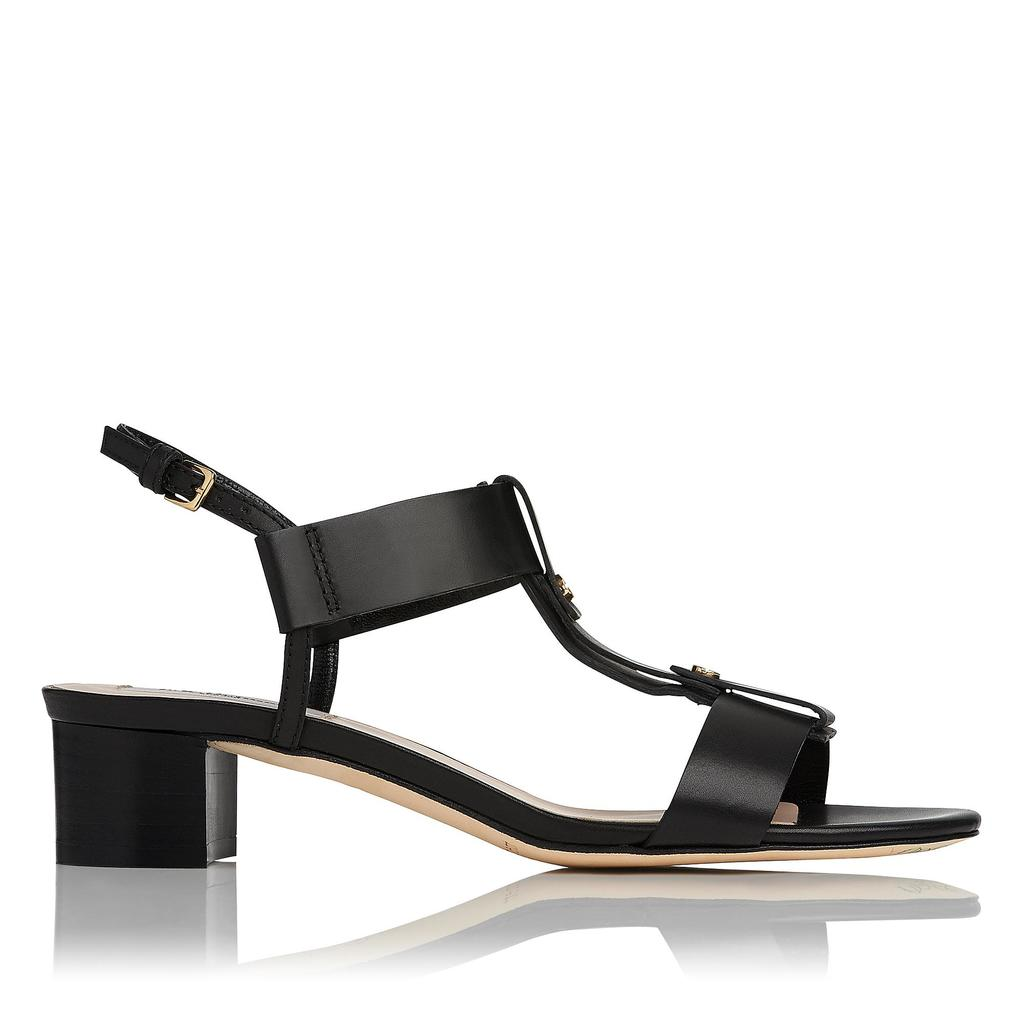 Kami Black Leather Sandals - predominant colour: black; occasions: casual, creative work; material: leather; heel height: mid; ankle detail: ankle strap; heel: block; toe: open toe/peeptoe; style: strappy; finish: plain; pattern: plain; season: s/s 2016; wardrobe: investment