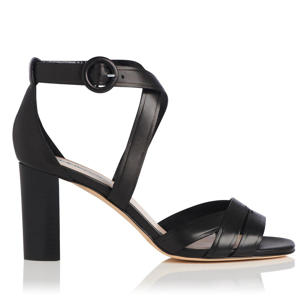 Clover Black Leather Sandals - predominant colour: black; occasions: evening, occasion; material: leather; heel height: high; ankle detail: ankle strap; heel: block; toe: open toe/peeptoe; style: strappy; finish: plain; pattern: plain; season: s/s 2016; wardrobe: event