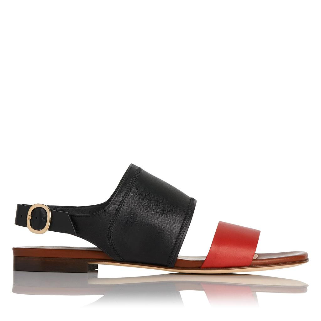 Lizzie Leather Flat Sandals - predominant colour: true red; secondary colour: black; occasions: casual, holiday; material: leather; heel height: flat; ankle detail: ankle strap; heel: standard; toe: open toe/peeptoe; style: strappy; finish: plain; pattern: colourblock; season: s/s 2016; wardrobe: highlight