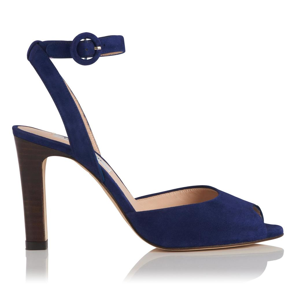 Sansa Navy Leather High Heel Sandals - predominant colour: navy; material: suede; heel height: high; ankle detail: ankle strap; heel: stiletto; toe: open toe/peeptoe; style: strappy; finish: plain; pattern: plain; occasions: creative work; season: s/s 2016; wardrobe: investment