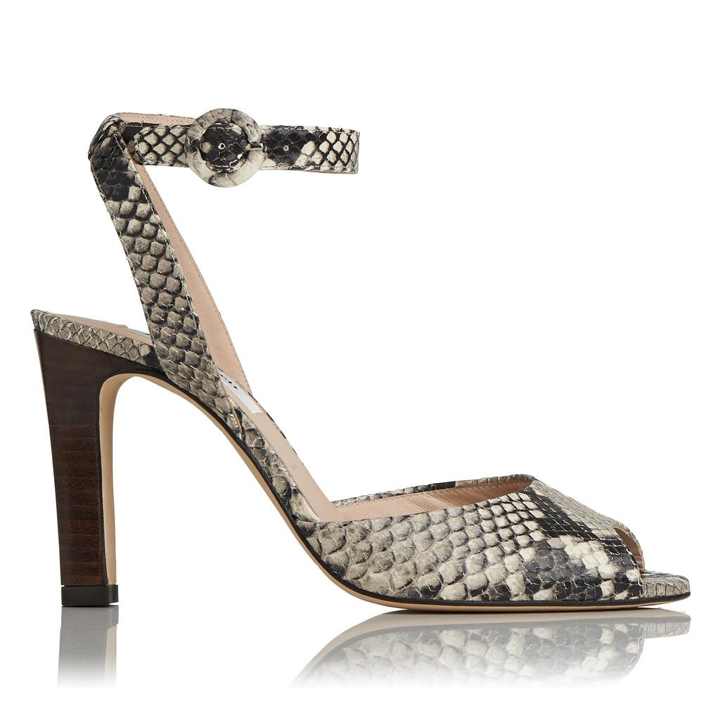 Sansa Leather High Heel Sandals - predominant colour: stone; secondary colour: mid grey; occasions: evening, occasion; material: leather; heel height: high; ankle detail: ankle strap; heel: stiletto; toe: open toe/peeptoe; style: slingbacks; finish: plain; pattern: animal print; season: s/s 2016; wardrobe: event