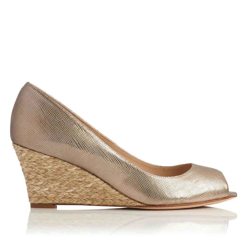 Zelita Espadrille Peep Toe Wedge Metallic Dusty Gold - predominant colour: gold; occasions: casual, holiday; material: leather; heel height: high; heel: wedge; toe: open toe/peeptoe; finish: metallic; pattern: plain; style: espadrilles; season: s/s 2016