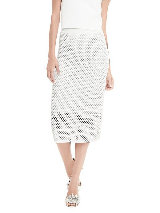 Lace Stitch Sweater Skirt White - length: below the knee; style: pencil; fit: body skimming; waist: high rise; predominant colour: white; occasions: occasion; texture group: lace; pattern type: fabric; pattern: patterned/print; fibres: viscose/rayon - mix; embellishment: lace; season: s/s 2016; wardrobe: event; embellishment location: all over