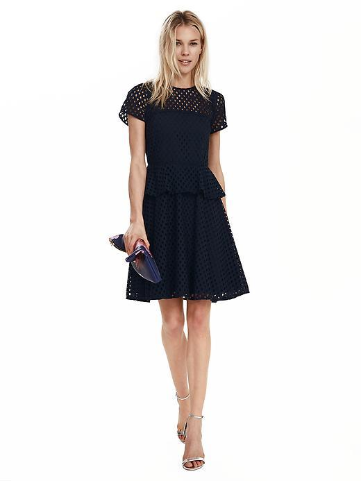 Geo Lace Peplum Dress Preppy Navy - length: mid thigh; sleeve style: capped; waist detail: peplum waist detail; predominant colour: navy; occasions: evening, occasion; fit: fitted at waist & bust; style: fit & flare; fibres: polyester/polyamide - 100%; neckline: crew; hip detail: subtle/flattering hip detail; sleeve length: short sleeve; texture group: lace; pattern type: fabric; pattern: patterned/print; shoulder detail: sheer at shoulder; season: s/s 2016; wardrobe: event
