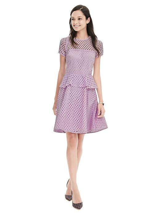 Geo Lace Peplum Dress Lilac - length: mid thigh; waist detail: peplum waist detail; predominant colour: lilac; occasions: evening, occasion; fit: fitted at waist & bust; style: fit & flare; fibres: polyester/polyamide - 100%; neckline: crew; hip detail: subtle/flattering hip detail; sleeve length: short sleeve; sleeve style: standard; texture group: lace; pattern type: fabric; pattern size: standard; pattern: patterned/print; shoulder detail: sheer at shoulder; season: s/s 2016; wardrobe: event