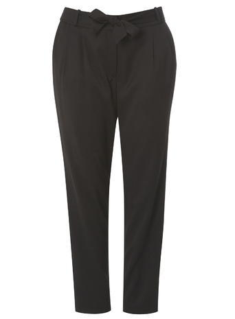 Womens Evans Black Tie Tapered Trousers, Black - pattern: plain; style: peg leg; waist detail: belted waist/tie at waist/drawstring; waist: mid/regular rise; predominant colour: black; occasions: work, creative work; length: ankle length; fibres: polyester/polyamide - 100%; fit: tapered; pattern type: fabric; texture group: other - light to midweight; season: s/s 2016