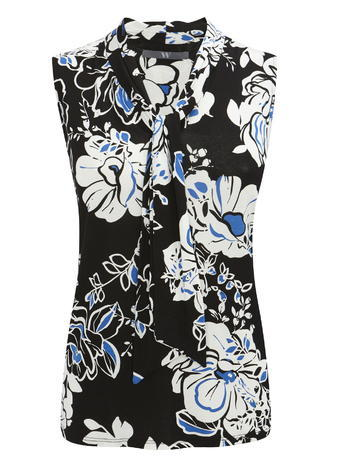 Womens Graphic Floral Print Sleeveless Pussy Bow Blouse, Black, Black - sleeve style: sleeveless; neckline: pussy bow; style: blouse; secondary colour: white; predominant colour: black; occasions: casual; length: standard; fibres: viscose/rayon - stretch; fit: body skimming; sleeve length: sleeveless; pattern type: fabric; pattern: florals; texture group: jersey - stretchy/drapey; multicoloured: multicoloured; season: s/s 2016; wardrobe: highlight