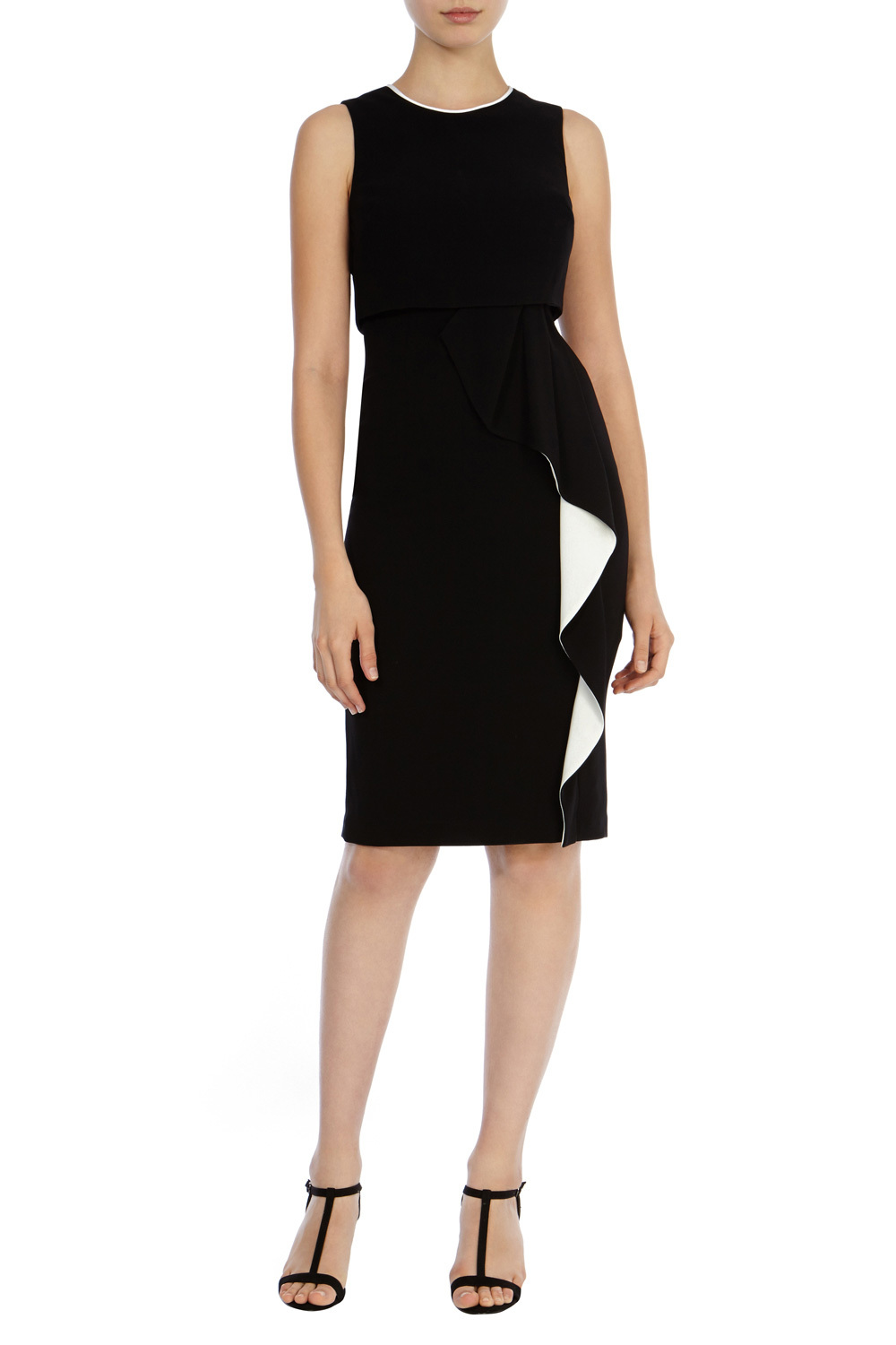 Lomax Colour Block Crepe Dress - style: shift; fit: tailored/fitted; sleeve style: sleeveless; predominant colour: black; length: just above the knee; fibres: polyester/polyamide - 100%; occasions: occasion; neckline: crew; hip detail: adds bulk at the hips; sleeve length: sleeveless; trends: monochrome; pattern type: fabric; pattern: colourblock; texture group: other - light to midweight; season: s/s 2016; wardrobe: event