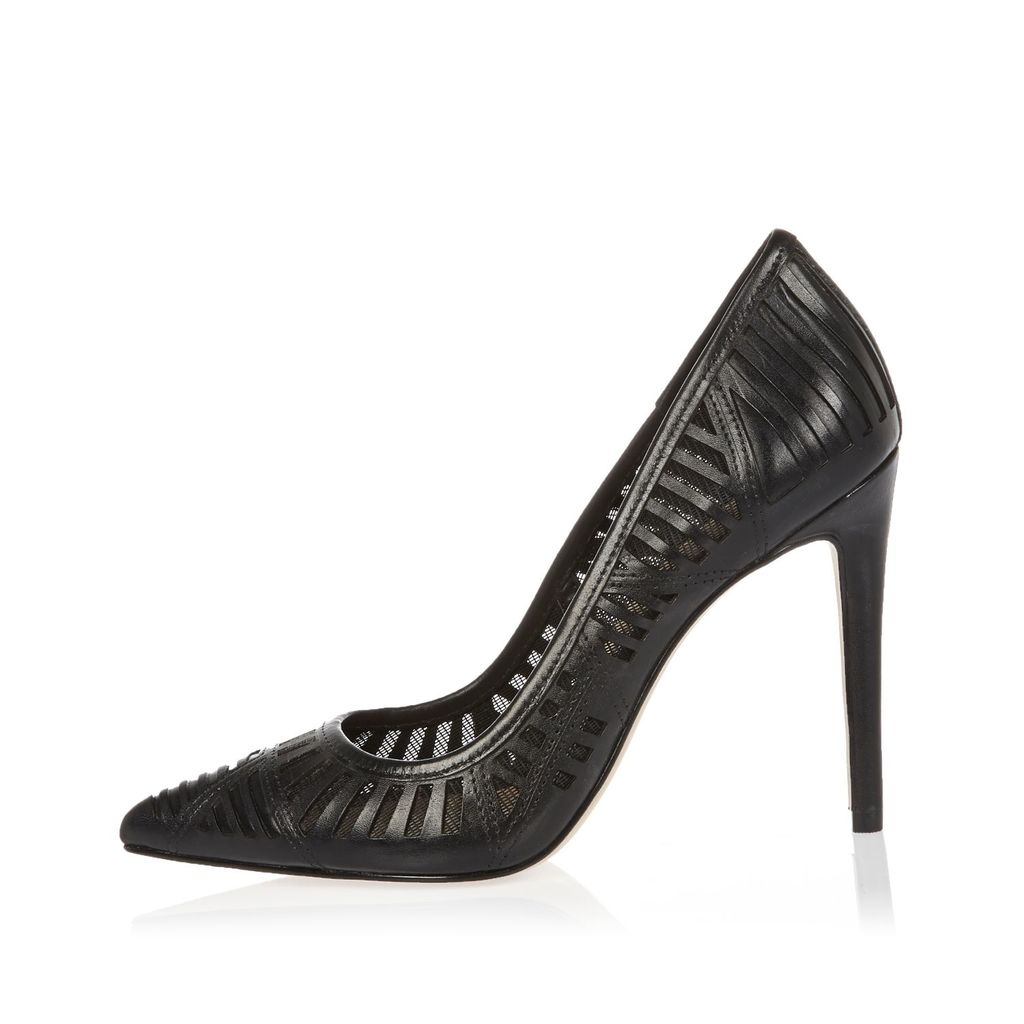Womens Black Laser Cut Leather Court Shoes - predominant colour: black; occasions: evening, occasion, creative work; material: leather; heel: stiletto; toe: pointed toe; style: courts; finish: plain; pattern: plain; heel height: very high; season: s/s 2016; wardrobe: highlight
