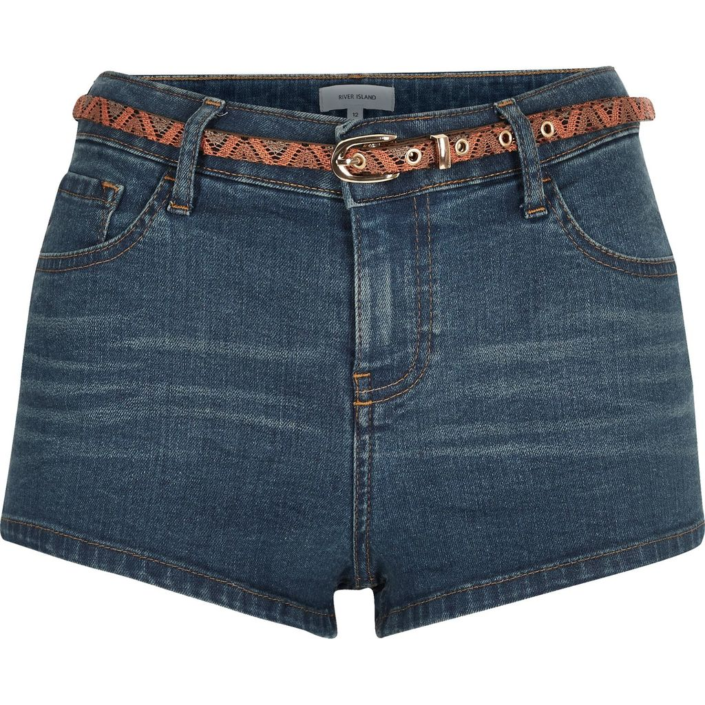Womens Mid Wash Denim Belted Hotpant Shorts - pattern: plain; waist detail: belted waist/tie at waist/drawstring; pocket detail: traditional 5 pocket; waist: mid/regular rise; predominant colour: denim; occasions: casual; fibres: cotton - stretch; texture group: denim; pattern type: fabric; season: s/s 2016; style: denim; length: short shorts; fit: skinny/tight leg; wardrobe: highlight