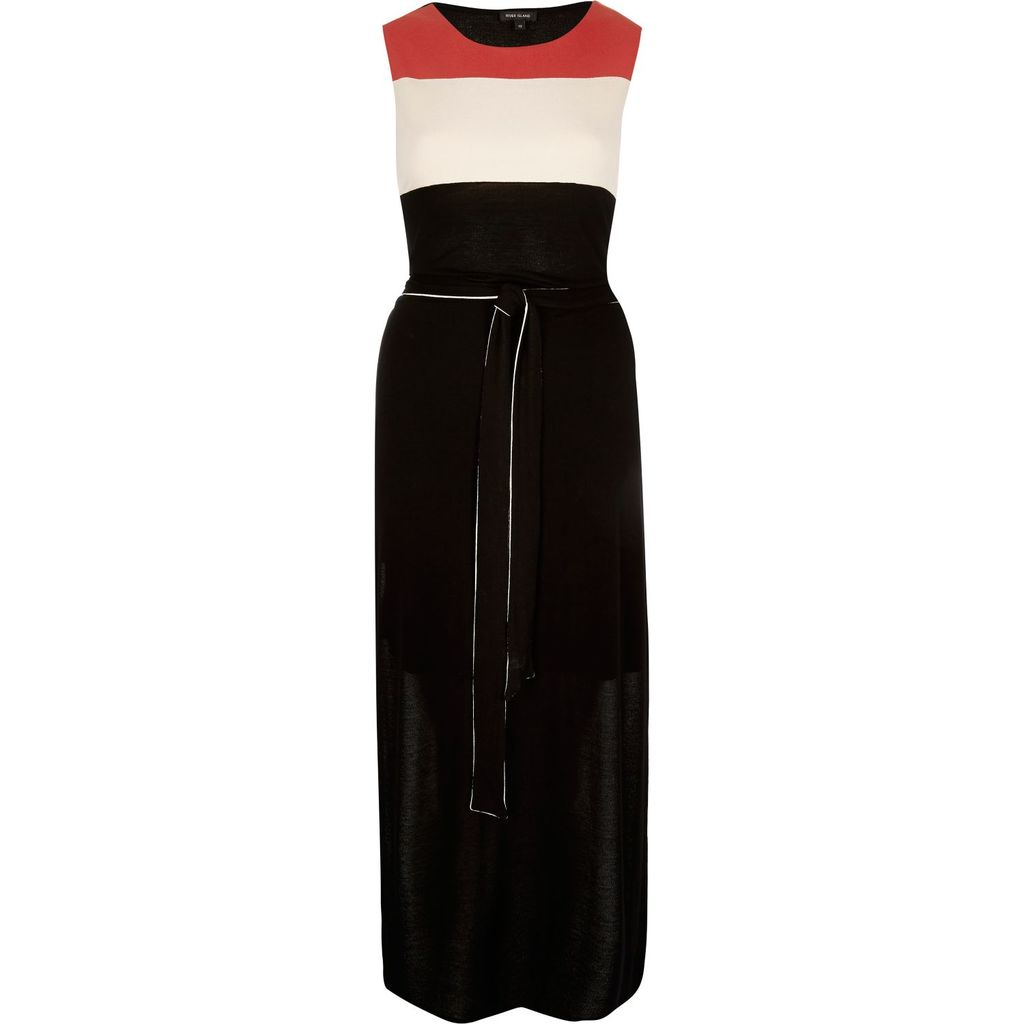 Womens Black Crepe Belted Tunic - style: shift; length: below the knee; fit: tailored/fitted; sleeve style: sleeveless; waist detail: belted waist/tie at waist/drawstring; secondary colour: true red; predominant colour: black; occasions: evening; fibres: viscose/rayon - 100%; neckline: crew; sleeve length: sleeveless; pattern type: fabric; pattern: colourblock; texture group: other - light to midweight; season: s/s 2016; wardrobe: event