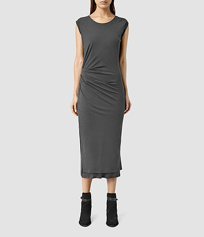 Gamma Dress - length: calf length; sleeve style: capped; fit: tight; pattern: plain; style: bodycon; waist detail: flattering waist detail; predominant colour: charcoal; occasions: evening; fibres: cotton - 100%; neckline: crew; sleeve length: short sleeve; pattern type: fabric; texture group: jersey - stretchy/drapey; season: s/s 2016; wardrobe: event