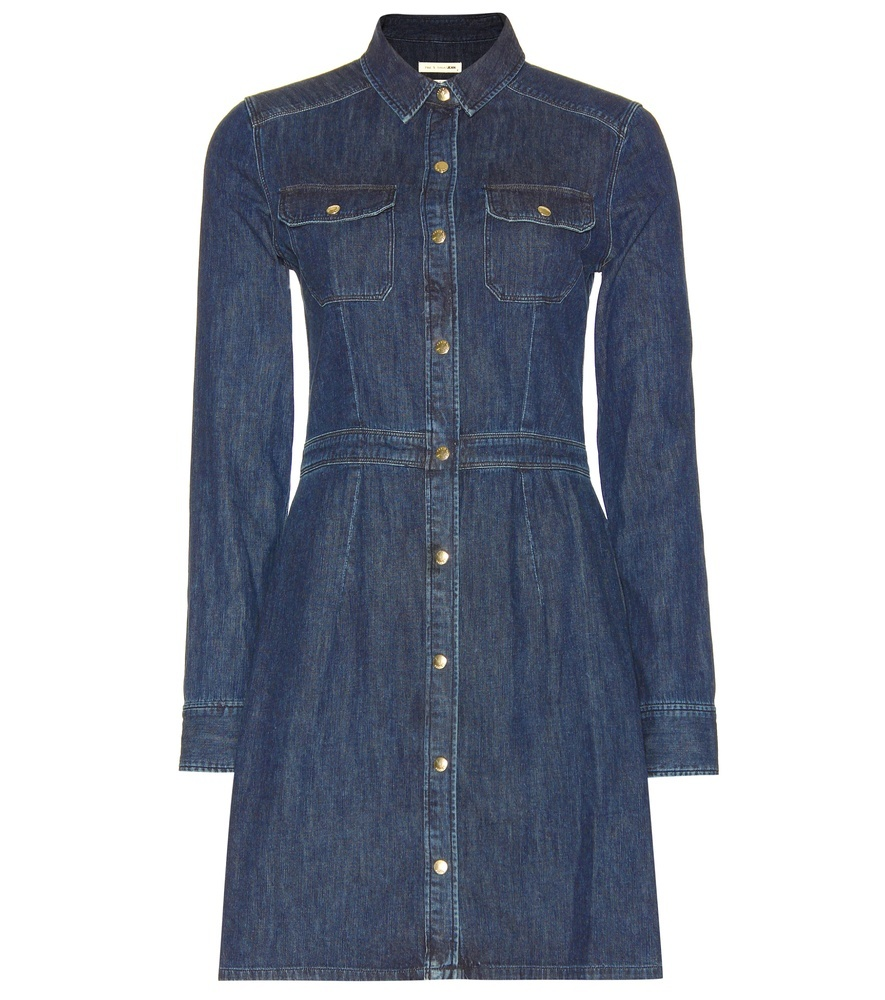Utility Denim Dress - style: shirt; length: mid thigh; neckline: shirt collar/peter pan/zip with opening; fit: tailored/fitted; pattern: plain; bust detail: pocket detail at bust; predominant colour: denim; occasions: casual, creative work; fibres: cotton - stretch; sleeve length: long sleeve; sleeve style: standard; texture group: denim; pattern type: fabric; season: s/s 2016; wardrobe: basic