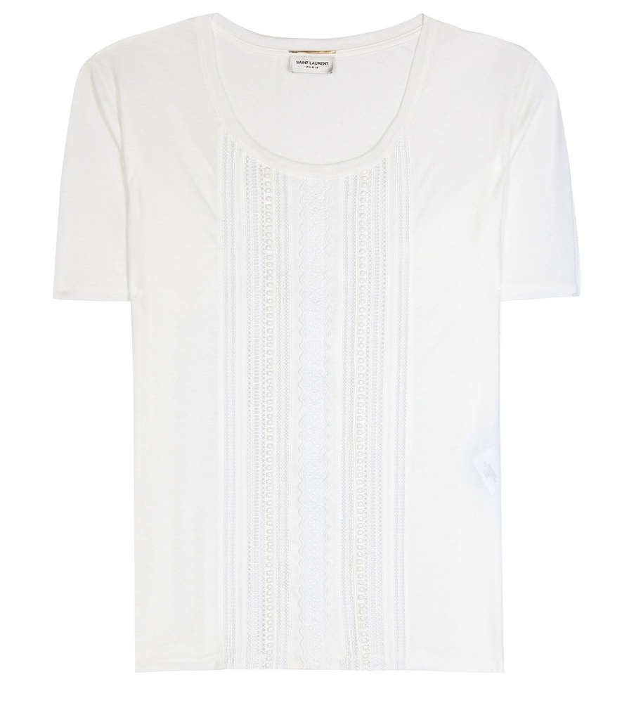 Macramé Trimmed Cotton T Shirt - pattern: plain; style: t-shirt; predominant colour: ivory/cream; occasions: casual; length: standard; fibres: cotton - 100%; fit: straight cut; neckline: crew; sleeve length: short sleeve; sleeve style: standard; pattern type: fabric; texture group: jersey - stretchy/drapey; season: s/s 2016; wardrobe: basic