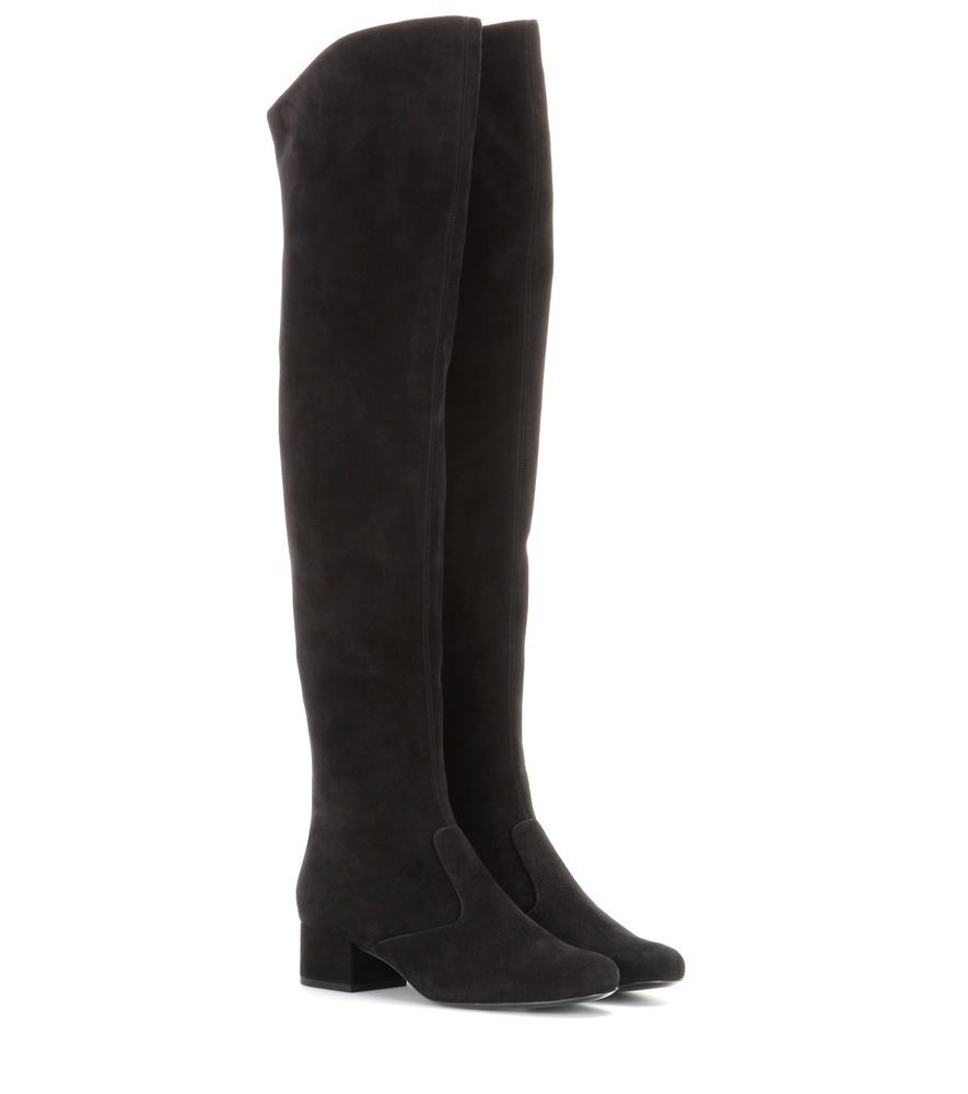 Suede Over The Knee Boots - predominant colour: charcoal; occasions: casual, creative work; material: suede; heel height: flat; heel: standard; toe: round toe; boot length: over the knee; style: standard; finish: plain; pattern: plain; season: s/s 2016; wardrobe: investment