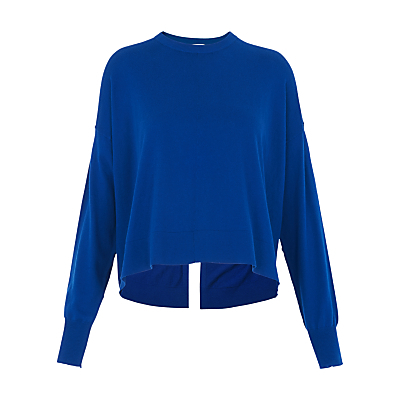 Split Back Jumper - neckline: round neck; sleeve style: dolman/batwing; pattern: plain; style: standard; predominant colour: royal blue; occasions: casual, creative work; length: standard; fibres: wool - mix; fit: loose; back detail: longer hem at back than at front; sleeve length: long sleeve; texture group: knits/crochet; pattern type: knitted - fine stitch; season: s/s 2016; wardrobe: highlight
