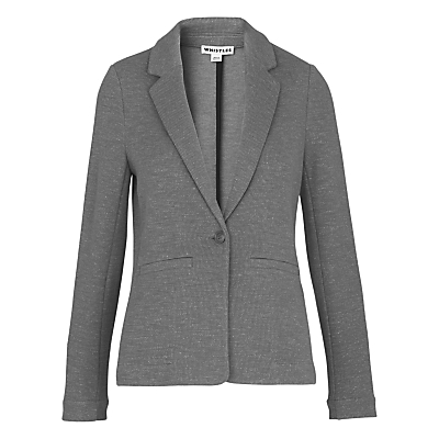 Molly Jersey Jacket - pattern: plain; style: single breasted blazer; collar: standard lapel/rever collar; predominant colour: mid grey; occasions: work, creative work; length: standard; fit: tailored/fitted; fibres: cotton - 100%; sleeve length: long sleeve; sleeve style: standard; collar break: medium; pattern type: fabric; texture group: jersey - stretchy/drapey; season: s/s 2016; wardrobe: investment