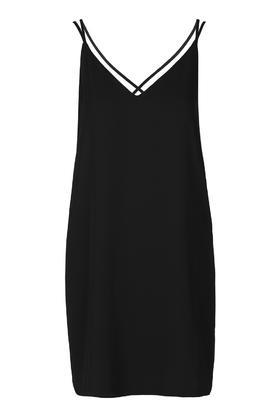 Cross Strap Slip Dress - length: mini; neckline: low v-neck; sleeve style: spaghetti straps; fit: loose; pattern: plain; predominant colour: black; occasions: evening; style: slip dress; fibres: polyester/polyamide - 100%; back detail: crossover; sleeve length: sleeveless; texture group: crepes; pattern type: fabric; trends: chic girl, glossy girl, pretty girl, rebel girl; season: s/s 2016; wardrobe: event