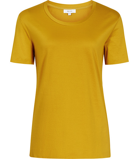 Hana Scoop Neck T Shirt - neckline: round neck; pattern: plain; style: t-shirt; predominant colour: mustard; occasions: casual; length: standard; fibres: cotton - 100%; fit: body skimming; sleeve length: short sleeve; sleeve style: standard; pattern type: fabric; texture group: jersey - stretchy/drapey; season: s/s 2016; wardrobe: highlight