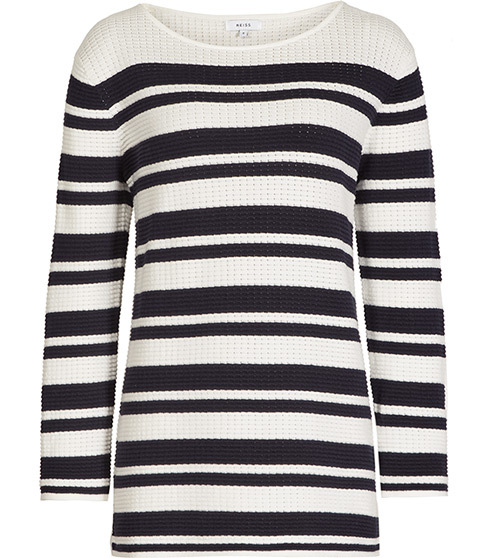 Amalfi Striped Top - neckline: round neck; pattern: horizontal stripes; predominant colour: white; secondary colour: black; occasions: casual; length: standard; style: top; fibres: cotton - 100%; fit: body skimming; sleeve length: long sleeve; sleeve style: standard; trends: monochrome, graphic stripes; texture group: knits/crochet; pattern type: fabric; multicoloured: multicoloured; season: s/s 2016; wardrobe: basic