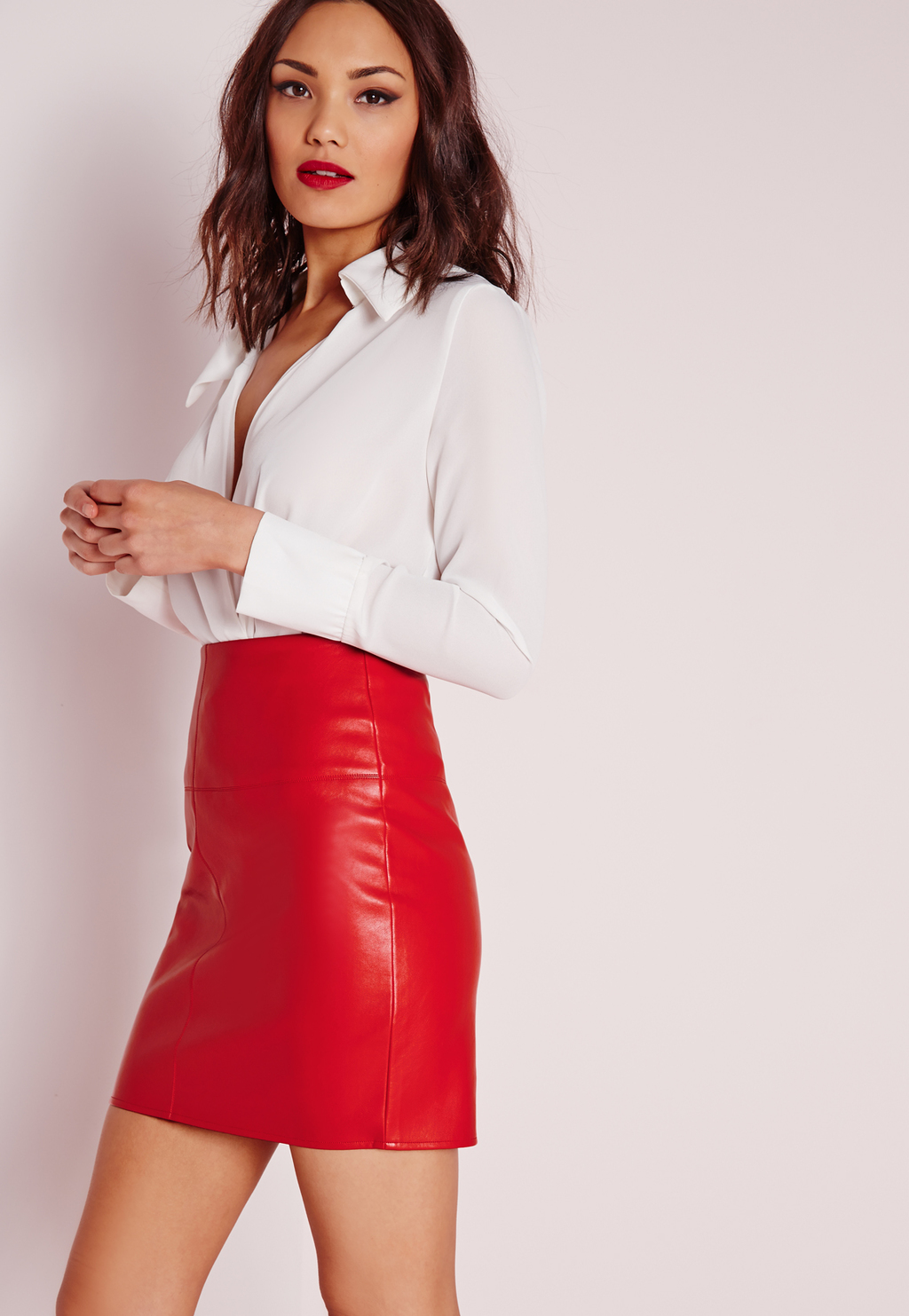 Faux Leather Mini Skirt Red, Red - length: mini; pattern: plain; fit: tight; waist: high rise; predominant colour: true red; occasions: evening; style: mini skirt; texture group: leather; pattern type: fabric; fibres: pvc/polyurethene - mix; season: s/s 2016; wardrobe: event