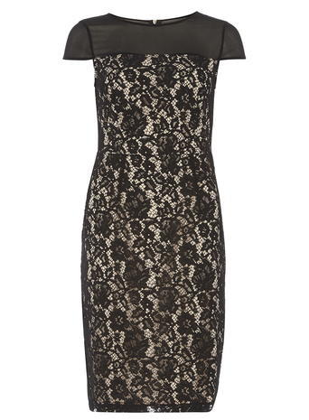 Womens **Tall Black Pencil Dress Black - style: shift; sleeve style: capped; fit: tailored/fitted; hip detail: fitted at hip; secondary colour: nude; predominant colour: black; occasions: evening, occasion; length: just above the knee; fibres: polyester/polyamide - 100%; neckline: crew; sleeve length: short sleeve; texture group: lace; pattern type: fabric; pattern: patterned/print; shoulder detail: sheer at shoulder; season: s/s 2016; wardrobe: event