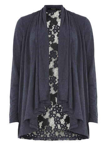 Womens **Vila Navy Lace Detail Cardigan Blue - neckline: shawl; length: below the bottom; style: open front; predominant colour: charcoal; occasions: casual, creative work; fibres: polyester/polyamide - mix; fit: standard fit; sleeve length: 3/4 length; sleeve style: standard; texture group: lace; pattern type: fabric; pattern size: standard; pattern: patterned/print; embellishment: lace; season: s/s 2016; wardrobe: highlight