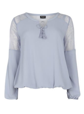 Womens **Vila Blue Lace Insert Top Blue - neckline: round neck; pattern: plain; predominant colour: pale blue; occasions: casual; length: standard; fibres: polyester/polyamide - 100%; fit: loose; style: gypsy/peasant; sleeve length: long sleeve; sleeve style: standard; texture group: crepes; pattern type: fabric; season: s/s 2016; wardrobe: highlight