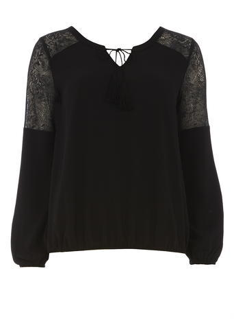 Womens **Vila Black Lace Insert Top Black - neckline: v-neck; pattern: plain; predominant colour: black; occasions: evening; length: standard; style: top; fibres: polyester/polyamide - 100%; fit: body skimming; sleeve length: long sleeve; sleeve style: standard; pattern type: fabric; texture group: jersey - stretchy/drapey; embellishment: lace; shoulder detail: sheer at shoulder; season: s/s 2016