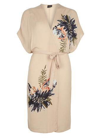 Womens **Vila Blush Floral Kimono Pink - neckline: v-neck; sleeve style: kimono; length: on the knee; predominant colour: nude; style: standard; fit: standard fit; waist detail: belted waist/tie at waist/drawstring; sleeve length: half sleeve; texture group: sheer fabrics/chiffon/organza etc.; occasions: holiday, creative work; pattern type: fabric; pattern size: standard; pattern: patterned/print; fibres: viscose/rayon - mix; season: s/s 2016; wardrobe: highlight