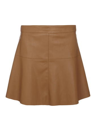 Womens **Vila Tan Pu Flippy Skirt Brown - length: mini; fit: loose/voluminous; waist: high rise; pattern: argyll; predominant colour: chocolate brown; occasions: casual, creative work; style: mini skirt; fibres: leather - 100%; texture group: leather; pattern type: fabric; season: s/s 2016