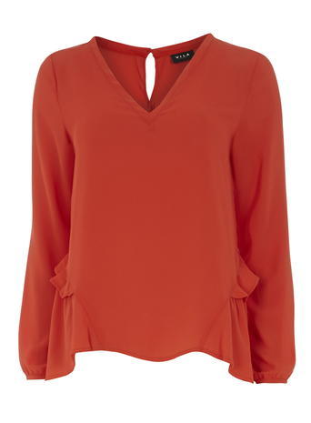 Womens **Vila Orange V Neck Blouse Orange - neckline: v-neck; pattern: plain; style: blouse; predominant colour: terracotta; occasions: work; length: standard; fibres: polyester/polyamide - 100%; fit: body skimming; hip detail: adds bulk at the hips; back detail: keyhole/peephole detail at back; sleeve length: long sleeve; sleeve style: standard; texture group: sheer fabrics/chiffon/organza etc.; pattern type: fabric; season: s/s 2016; wardrobe: highlight
