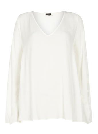 Womens **Vila White Bell Sleeve Blouse White - neckline: v-neck; pattern: plain; length: below the bottom; style: blouse; predominant colour: white; occasions: work, creative work; fibres: viscose/rayon - 100%; fit: loose; sleeve length: long sleeve; sleeve style: standard; texture group: sheer fabrics/chiffon/organza etc.; pattern type: fabric; season: s/s 2016; wardrobe: basic